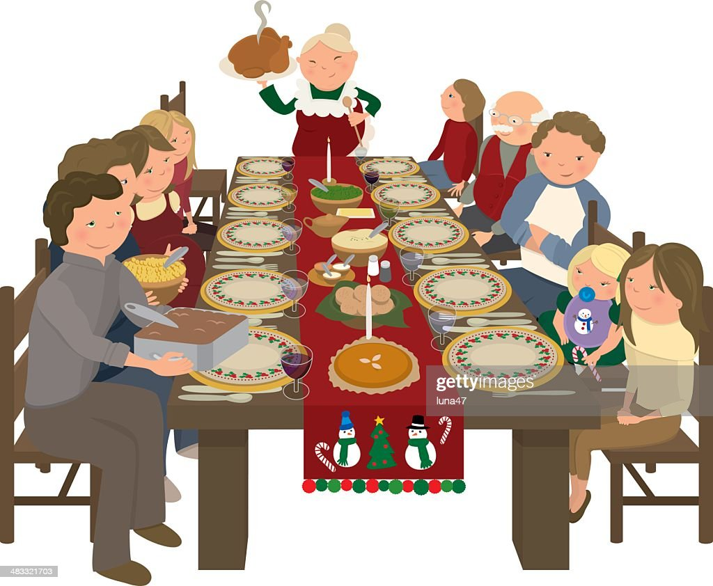 Family Christmas Dinner Table Vector Art Getty Images
