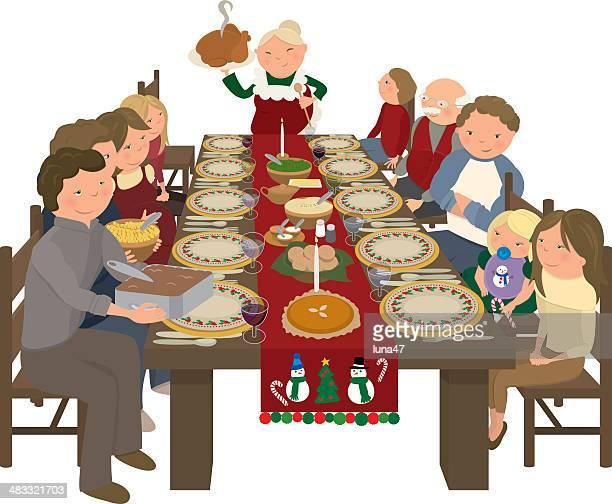 ilustraciones, imágenes clip art, dibujos animados e iconos de stock de familia navidad mesa de comedor - mesa de comedor