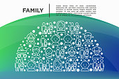 Family concept in half circle with thin line icons: mother, father, newborn, son, daughter, lesbian, gay, single mother and child, grandmother, grandfather. Vector illustration, print media template.