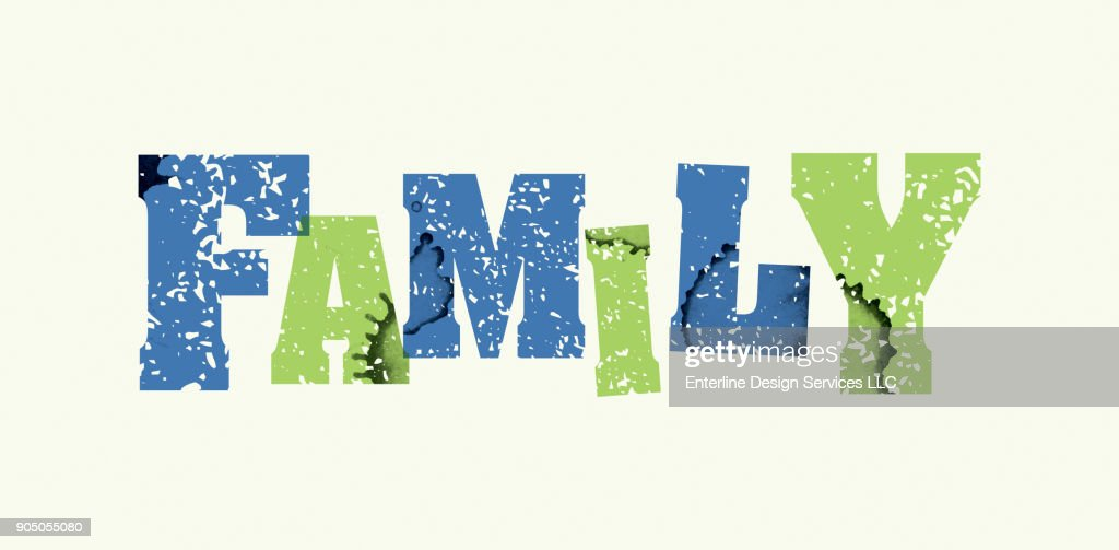 Family Concept Stamped Word Art Illustration