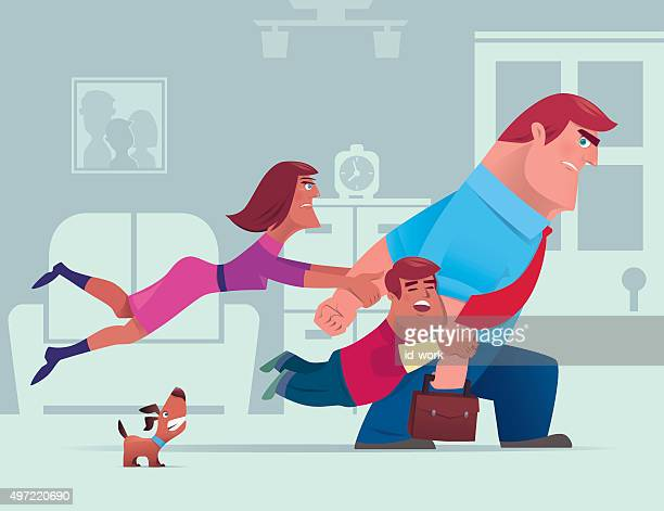 family conflict - dogs tug of war stock illustrations