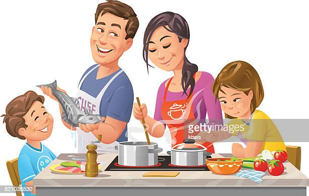 family cooking together - generations stock illustrations, clip art, cartoons, & icons