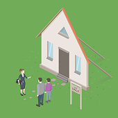 Family couple buying a new house. Real estate agent deceives people. Conceptual idea design.