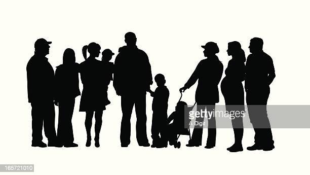 family crowd vector silhouette - pregnant stock illustrations