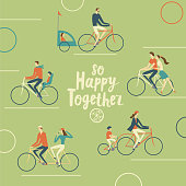 Family cycling poster