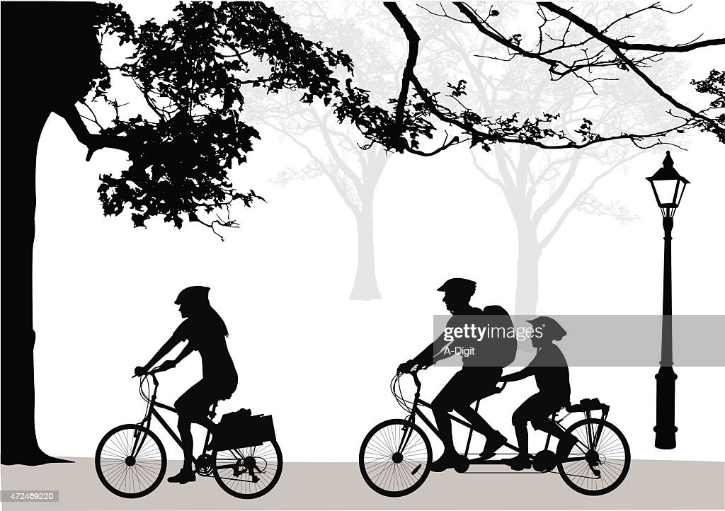 Family Cycling Ritual : stock illustration