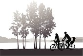 Family Cycling Vector Silhouette