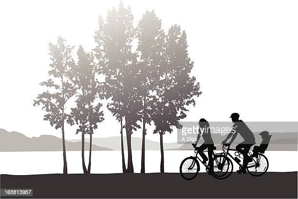 family cycling vector silhouette - family cycling stock illustrations, clip art, cartoons, & icons
