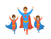 family, dad and kids, cute boy and girl playing superheroes, running excited in super hero costumes front view fun humor fathers day concept isolated vector illustration scene