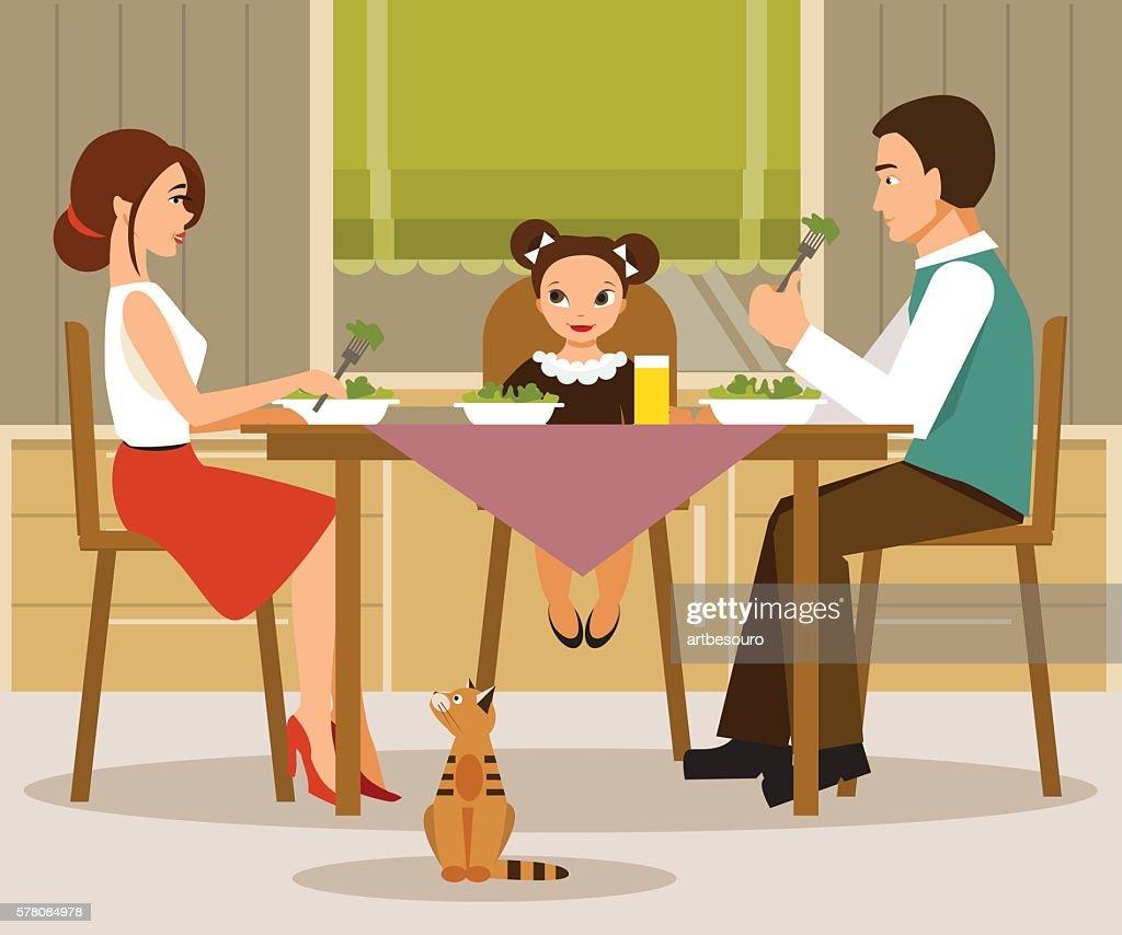 Family dinner. Vector illustration, flat style