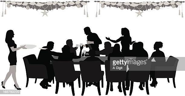 ilustraciones, imágenes clip art, dibujos animados e iconos de stock de familydinner - mesa de comedor