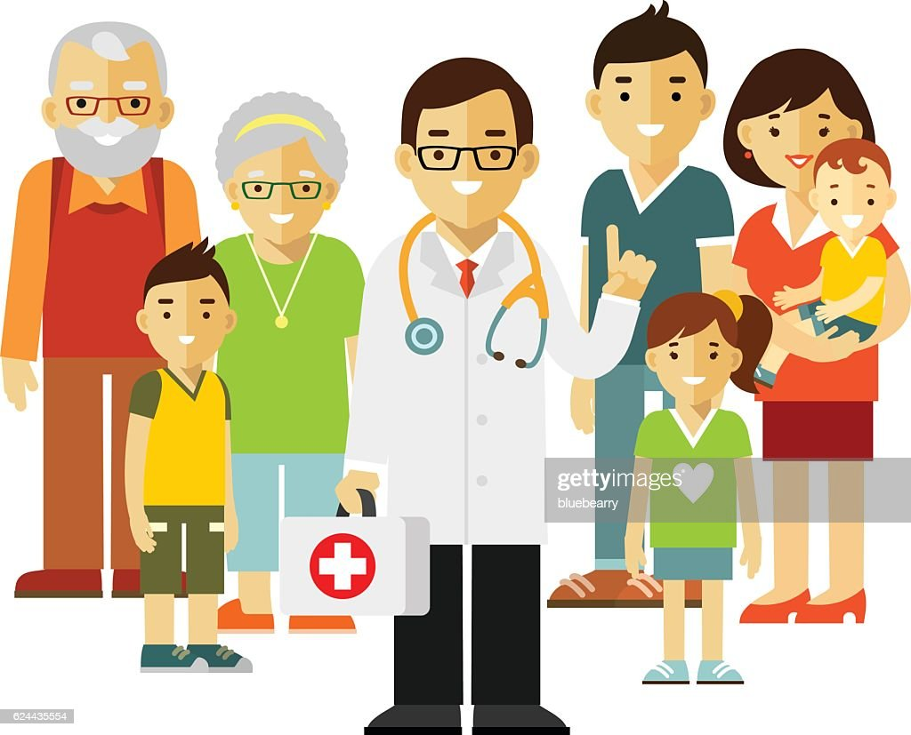 Family doctor concept with young practitioner and happy patients