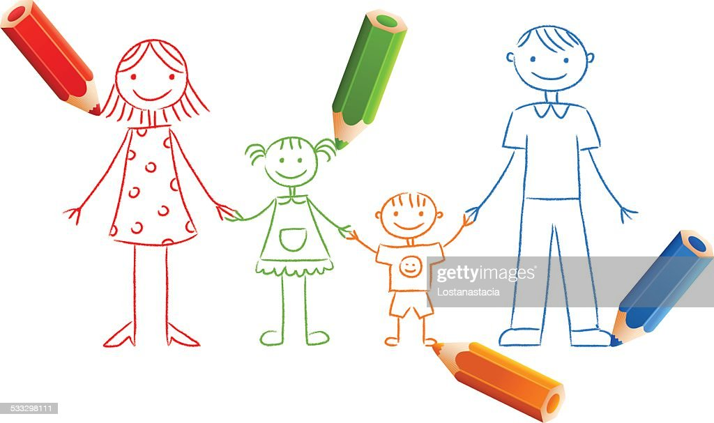 Family drawing with color pencils