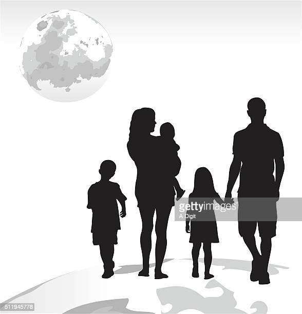 ilustraciones, imágenes clip art, dibujos animados e iconos de stock de familia sueño lunar viaje - madre e hija
