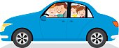 Family driving in a car isolated