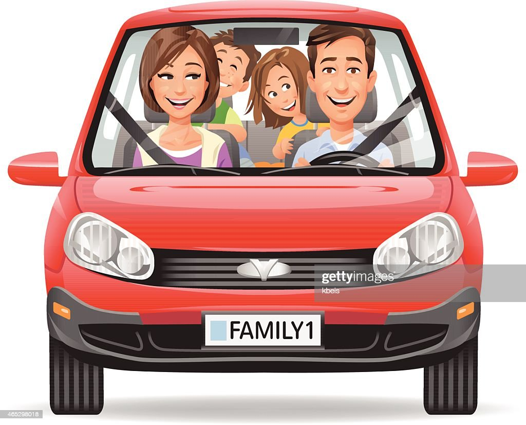 Family Driving In A Red Car
