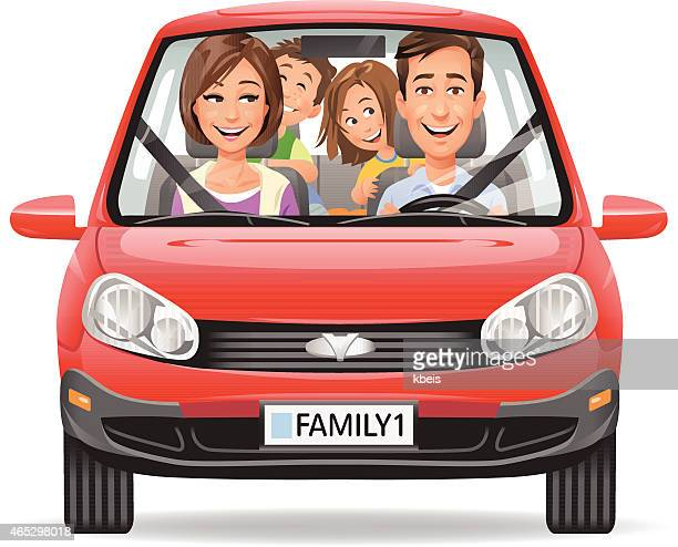 family driving in a red car - front view stock illustrations