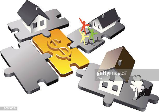 family economy puzzle - model to scale stock illustrations, clip art, cartoons, & icons