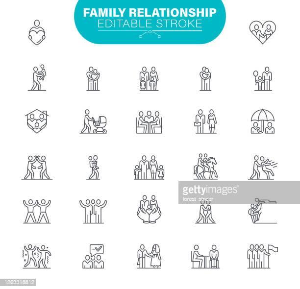 ilustrações de stock, clip art, desenhos animados e ícones de family editable stroke icons. in set icon as relationship, child, community, people - família