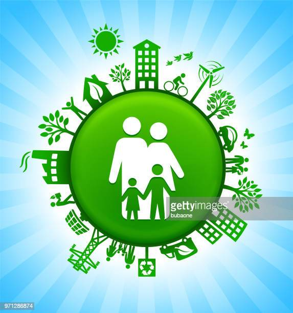 Family Environment Green Button Background on Blue Sky