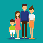 Family. Father, mother, son and daughter together. Flat vector illustration
