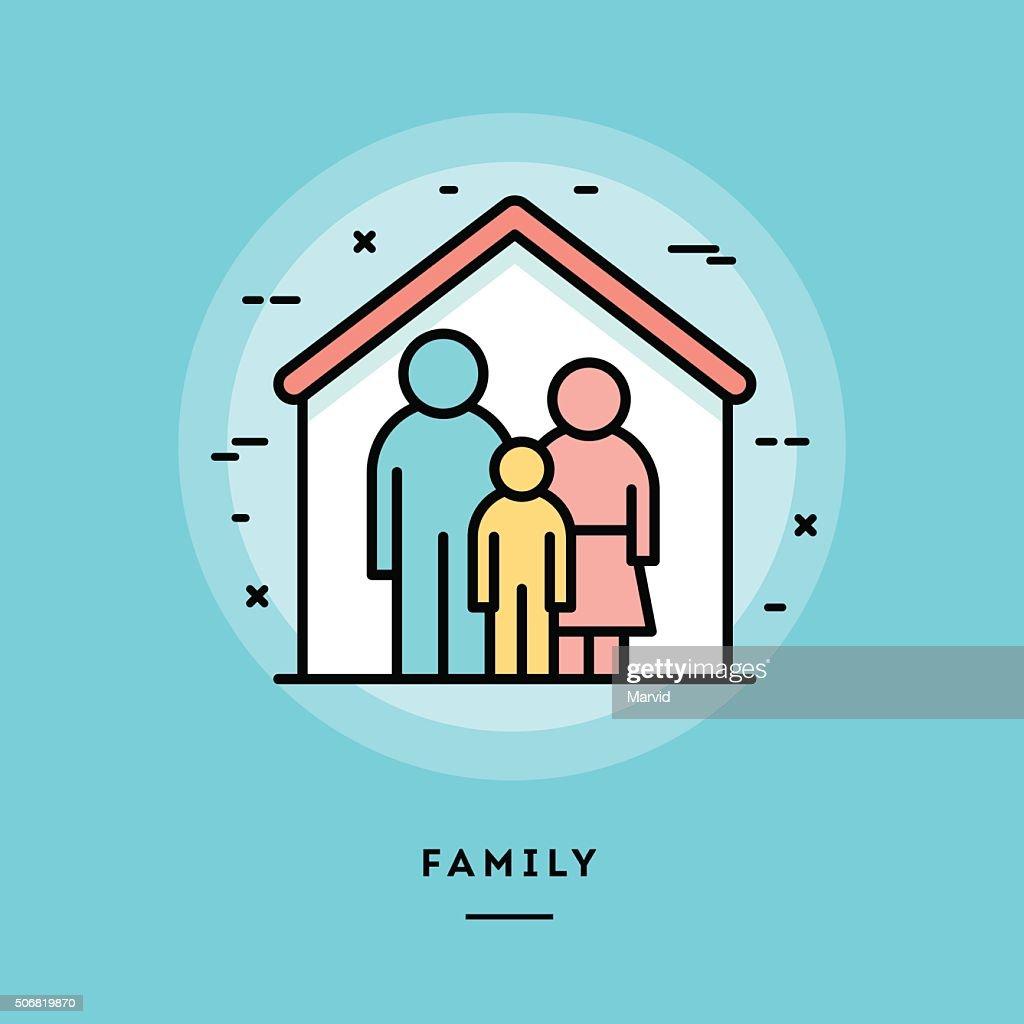 Family, flat design thin line banner