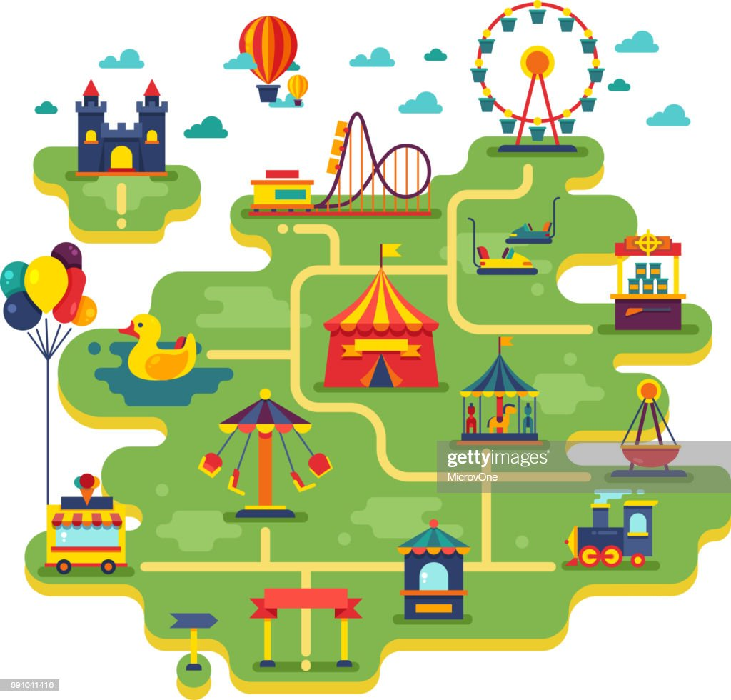 Family fun amusement park vector map. Entertainment in vacation vector background
