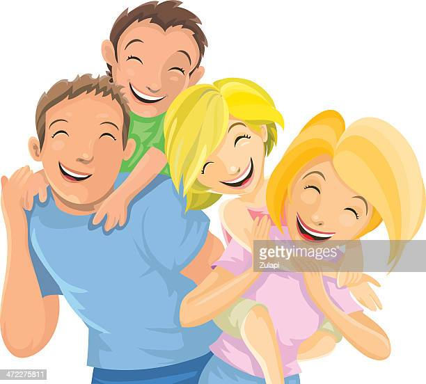 family fun - piggyback stock illustrations, clip art, cartoons, & icons