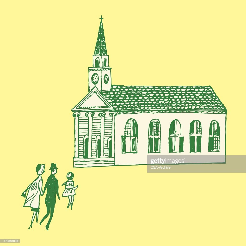 Family Going To Church Vector Art