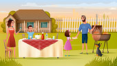 Family Grill Party on Backyard Vector Concept