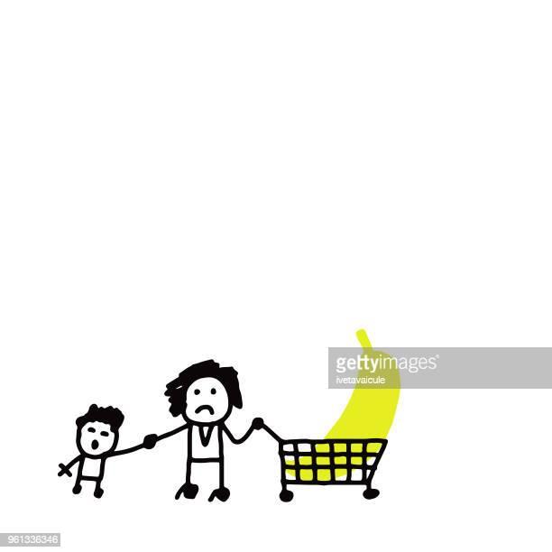family grocery shopping - spending money stock illustrations, clip art, cartoons, & icons