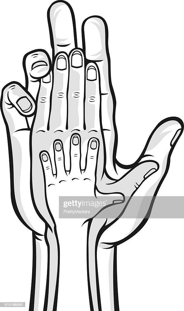 Family hands. Vector black and white illustration