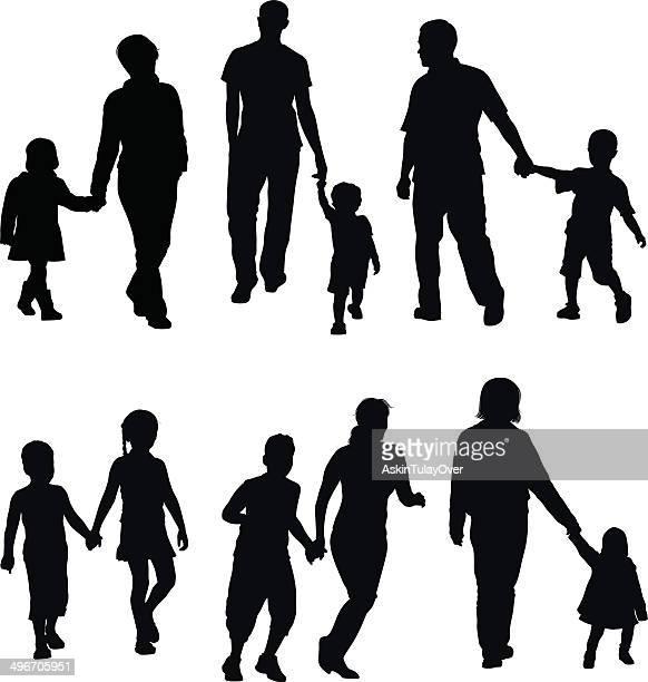 ilustraciones, imágenes clip art, dibujos animados e iconos de stock de familia sosteniendo las manos - madre e hija
