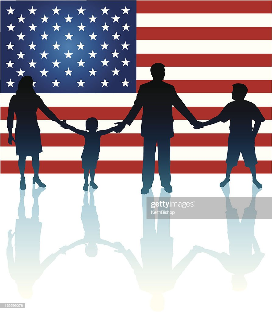 Family Holding Hands with American USA Flag Background : stock illustration