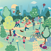 Family holiday on nature. Aerialview of city park with people. Summer sport and recreation panoramic landscape