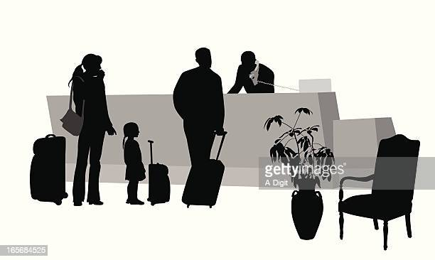 family holiday vector silhouette - hotel reception stock illustrations, clip art, cartoons, & icons