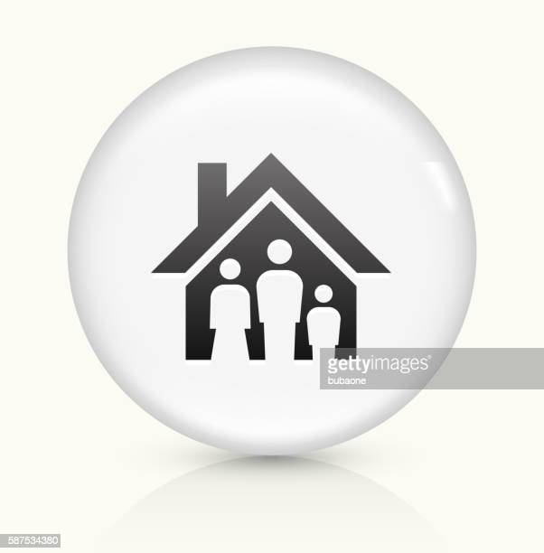 family house icon on white round vector button - human settlement stock illustrations, clip art, cartoons, & icons
