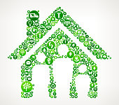 Family House Nature and Environmental Conservation Icon Pattern