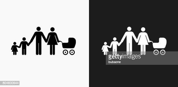 Family Icon on Black and White Vector Backgrounds