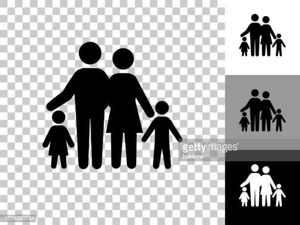 familiensymbol auf schachbrett transparenter hintergrund - familie stock-grafiken, -clipart, -cartoons und -symbole