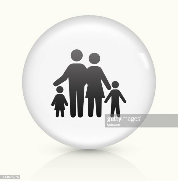 family icon on white round vector button - sociology stock illustrations, clip art, cartoons, & icons