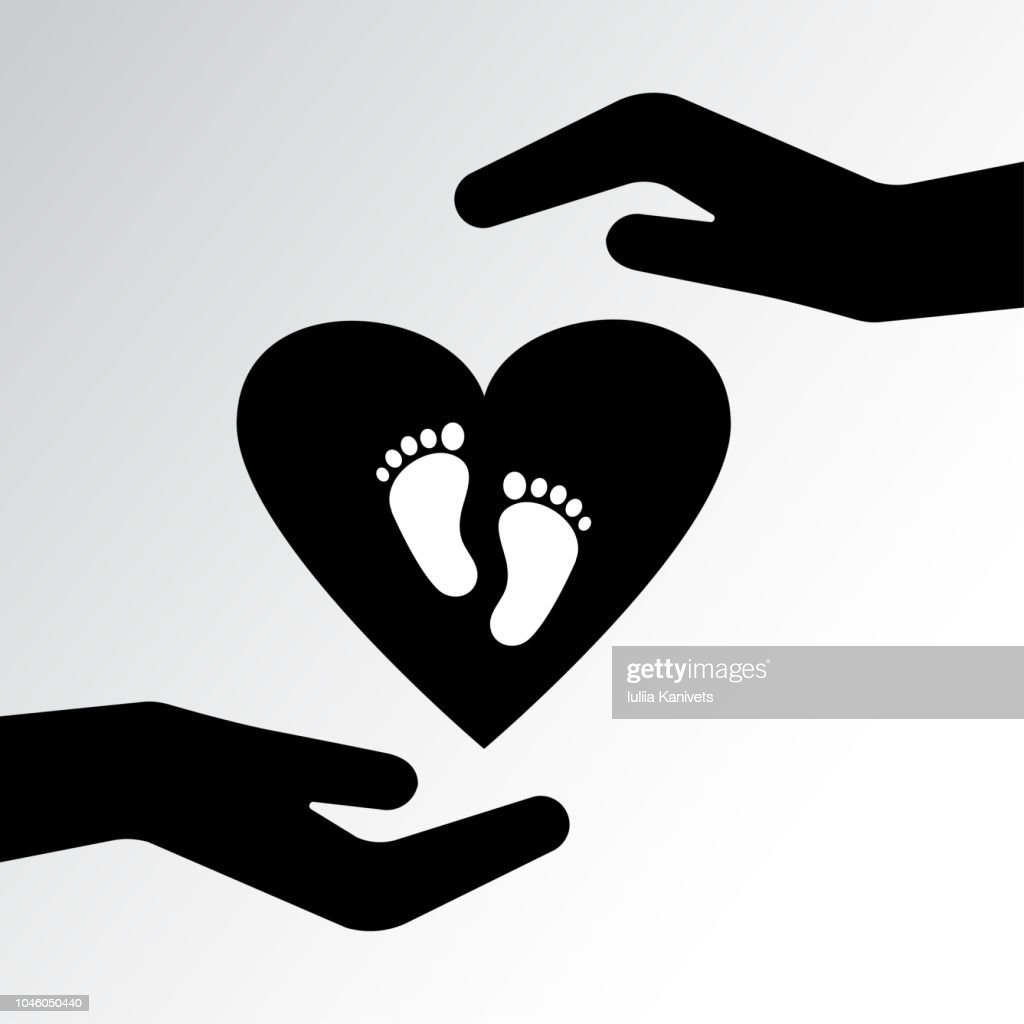 Family icon. Pregnancy sign. Caring for a child. Two hands protect the heart with footprints. Vector illustration