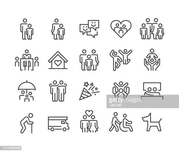 ilustraciones, imágenes clip art, dibujos animados e iconos de stock de iconos familiares - classic line series - familia