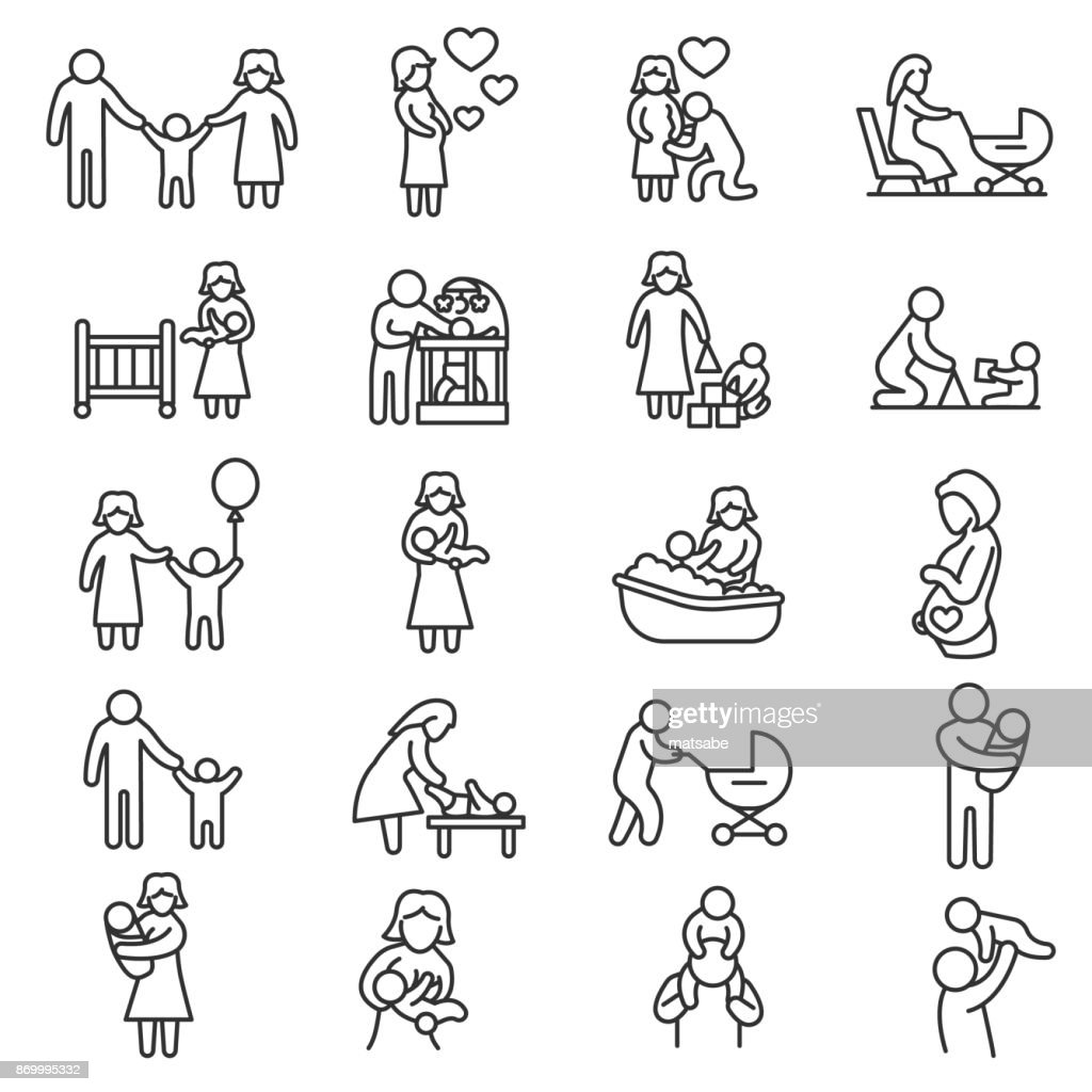 Family, icons set. Editable stroke