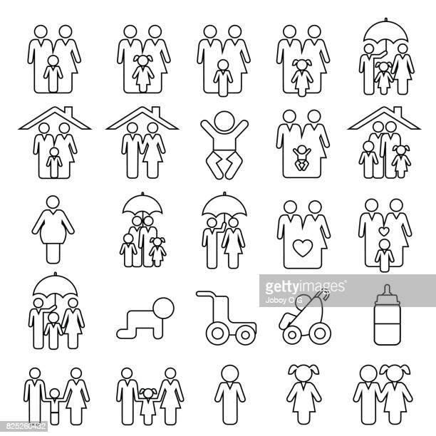 illustrations, cliparts, dessins animés et icônes de icônes de famille  - famille
