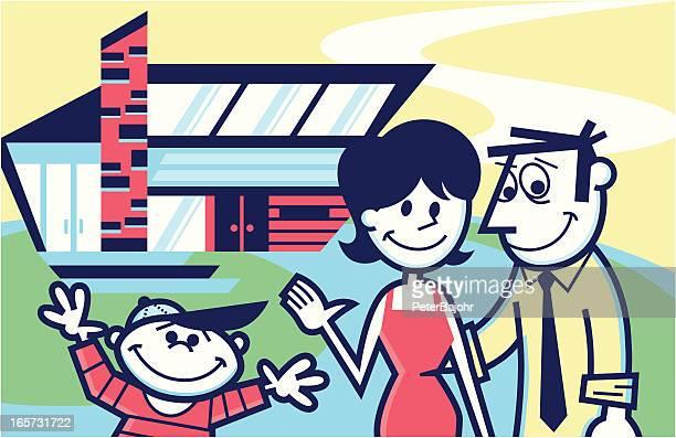 illustrations, cliparts, dessins animés et icônes de famille devant leur domicile - devant