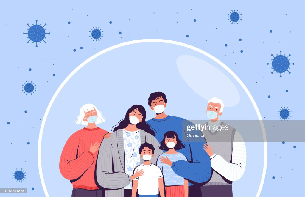 Family in medical masks stands in a protective bubble. Adults, old people and children are protected from the new coronavirus COVID-2019 : stock illustration