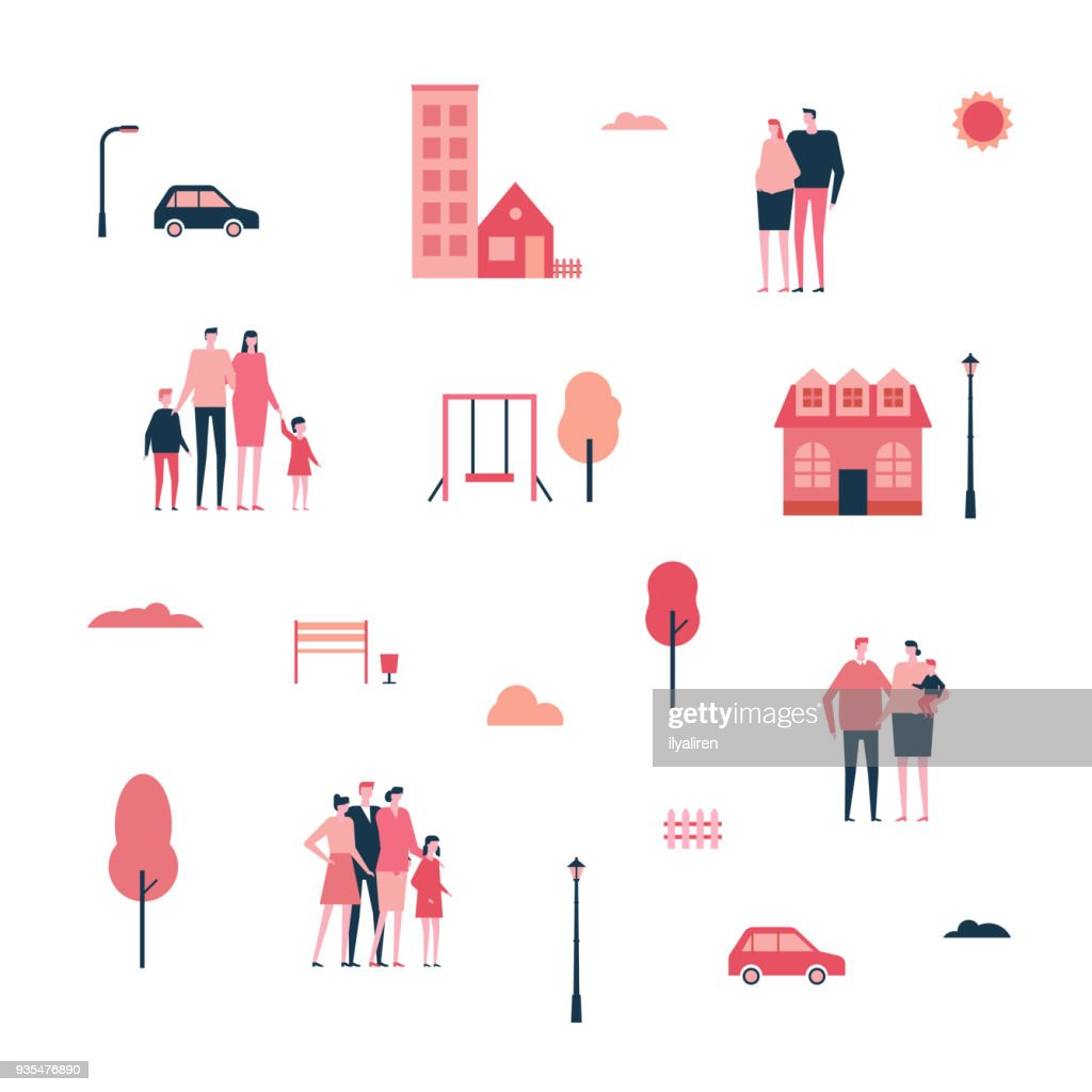 Family in the city - flat design style set of isolated elements