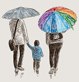 family in the rain