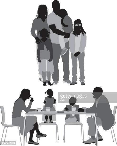 ilustraciones, imágenes clip art, dibujos animados e iconos de stock de familia en diversas medidas - comer
